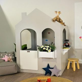 Remi Indoor Cubby House - Grey-White